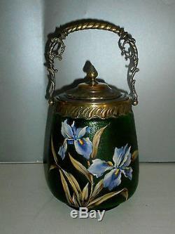 Seau a biscuits en verre emaillé de Legras. ART NOUVEAU. Décor d'iris. Vase