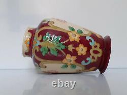 Signé, à identifier vase émail champ-levé art nouveau H. 26 cm