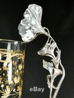 Splendide Vase 1900 Cristal Grave Dore Et Metal Argente Art Nouveau Jugendstil