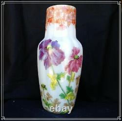 Splendide Vase Buffon Art Nouveau En Verre De Saint Denis Par Legras Montjoye