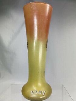 Splendide Vase Emaille Art Nouveau 1900 Legras Verre Jaune Motif Fleurs Ht 35 CM