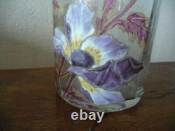 Splendide Vase Rouleau Emaille Legras Montjoye Decor Anemones Art Nouveau