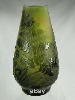 Sublime Vase Fougeres Galle Art Nouveau Verre Degage A L'acide Signe Authentique