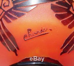 Superbe Coupe Vase Draperies Pate De Verre Art Deco Schneider Le Verre Francais
