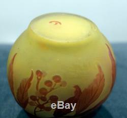 Superbe Et Authentique Vase Émile Gallé Époque Art Nouveau Decor De Feuilles