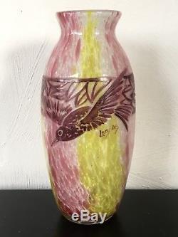 Superbe Et Grand Rare Vase Art Nouveau decor Doiseau Signé Legras