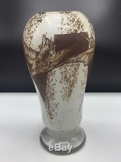 Superbe Et Grand Vase Art Nouveau Décor Oiseaux À L'acide Signé Legras