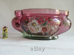 Superbe Et Grande Jardinière En Verre Émaillé Legras Art Nouveau 1900 Vase