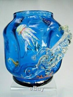 Superbe Grand Vase Emaille Art Nouveau 1900 Epoque Galle Salamandre Haut Relief