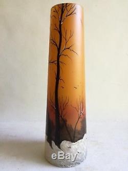 Superbe Grand Vase Émaillé Art Nouveau Francois Theodore Legras Paysage Neige
