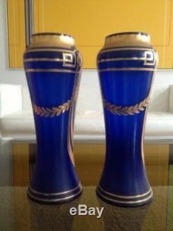 Superbe Paire De Vases Decor Bleu & Or Emaillee Epoque Art Nouveau 1900 Montjoye