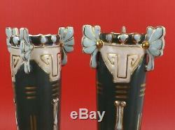 Superbe Paire de Vases ART NOUVEAU en Faïence émaillée. D. L. G de Paul Dachsel
