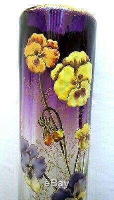 Superbe Vase Art Nouveau Aux 7 Pensees, Verre Prune Emaille Legras Montjoye