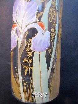 Superbe Vase Art Nouveau Aux Iris Violets, Verre Emaille Legras Montjoye