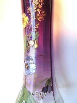 Superbe Vase Art Nouveau Aux Pensees, Verre Prune Emaille Legras Montjoye