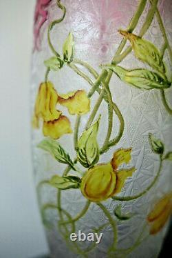 Superbe Vase Baccarat Dégagé À L'acide Époque Art Nouveau 1900