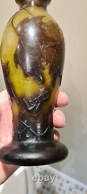 Superbe Vase En Pate De Verre Art Nouveau LEGRAS aux Marrons Old Vase 1900 23cm