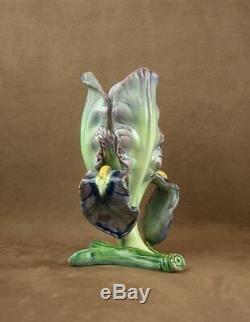 Superbe Vase Iris En Barbotine Art Nouveau De Delphin Massier Vallauris
