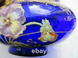 Superbe Vase Jardiniere Aux Pensees, Art Nouveau, Verre Bleu Emaille Legras