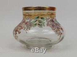 Superbe Vase Pansu en Cristal Emaillé signé E. Gallé Nancy. ART NOUVEAU