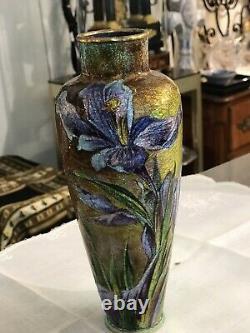 Superbe Vase Signe A Marty Faure Émaux Polychrome Sur Cuivre Art Nouveau Limoge