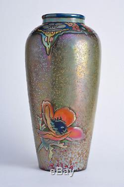 Superbe ancien vase Montières Amiens 1917 Art Nouveau Antique Jugendstil céramic