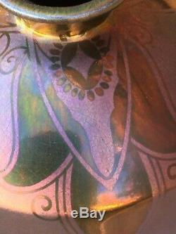 Superbe et Grand Vase irisé ART NOUVEAU MONTIERES AMIENS dlg Massier Barol 25 cm