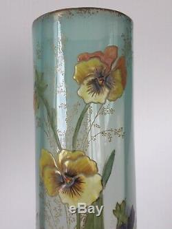 Superbe paire de vases Art Nouveau aux pensées par Legras French enameled glass