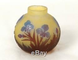 Superbe petit vase boule pâte de verre Emile Gallé pensées Art Nouveau XIXè