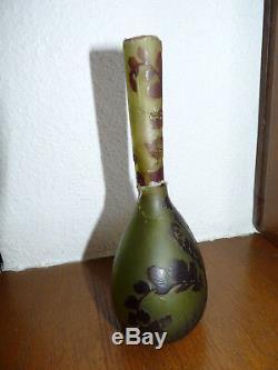 Superbe très rare vase Art Nouveau en pâte de verre signé Emile Galé à restaurer