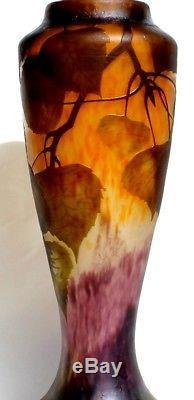 Superbe vase Daum peuplier, parfait, 31.5 cm, era galle 1900 art-nouveau