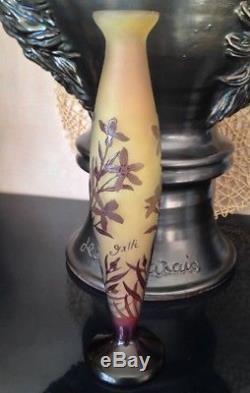 Superbe vase soliflore en pate de verre Art nouveau signé Gallé