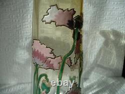 Tres Beau Et Grand Vase Legras Decor Emaille De Pavots Art Nouveau 30 CM