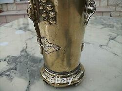 Tres Beau Vase Art Nouveau En Bronze-decor Animalier Et Feuilles De Vigne