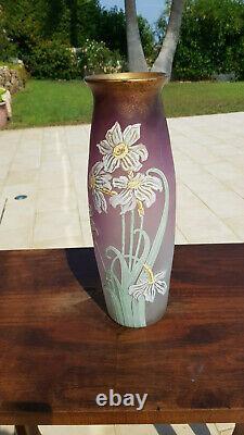 Très Grand Vase émaillé de fleurs Art Nouveau LEGRAS 38 cm