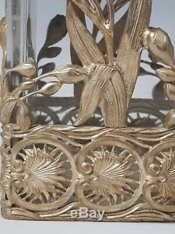 VASE ART NOUVEAU BRONZE/LAITON ET CRISTAL. FIN XIXème jugendstil verre clock