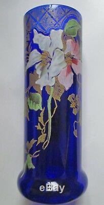 VASE ART NOUVEAU ÉMAILLÉ décor de clématites Monjoye legras 1900