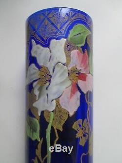VASE ART NOUVEAU EMAILLE decor de clématites Monjoye legras 1900