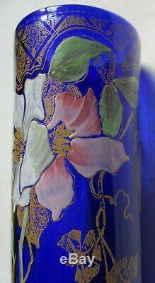 VASE ART NOUVEAU VERRE ÉMAILLÉ décor de clématites Monjoye legras 1900