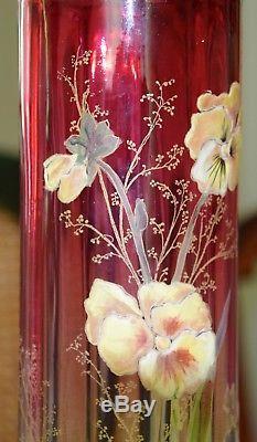 VASE ART NOUVEAU en verre LEGRAS rare et splendide, émaillé de pensées et peint