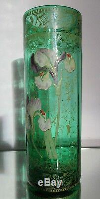 VASE ROULEAU LEGRAS VERRE ÉMAILLÉ FLEUR D'iris 1900 Art Nouveau
