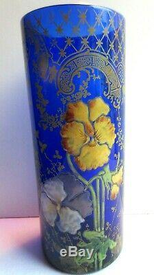 VASE Rouleau ART NOUVEAU VERRE bleu EMAILLE LEGRAS IRIS et dentelle dorée