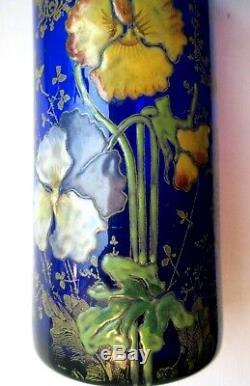 VASE Rouleau ART NOUVEAU VERRE bleu EMAILLE LEGRAS PENSEES et dentelle dorée