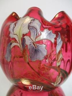 VASE boule LEGRAS VERRE émaillé aux Iris FOND ROUGE Art Nouveau 1900