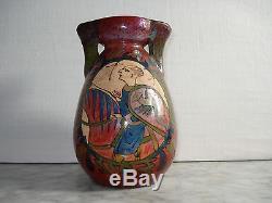 VASE en Céramique Signé DESMANT Tapisserie Bayeux c. 1900 Normandie