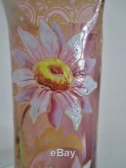 VASE verre émaillé Legras Art Nouveau 1900 décor marguerites