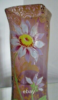 VASE verre émaillé violine Legras Art Nouveau 1900 fleurs marguerites et muguet