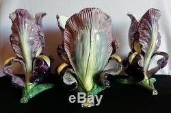 Vallauris PIERRE PERRET 2 vases + 1 jardinière barbotine Fleurs IRIS Art-Nouveau
