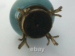 Vase 1900 Ceramique Decor Serpent Pied Griffe Vegetation Art Nouveau C2536