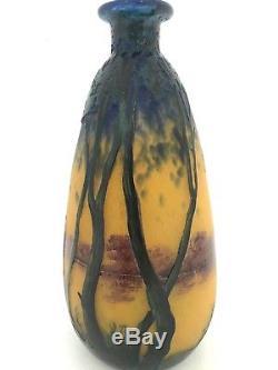 Vase ART NOUVEAU signé MULLER FRERES, verre multicouches et peint, FRANCE
